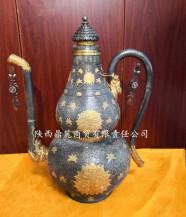 清乾隆銀鎏金鏨花葫蘆式執壺