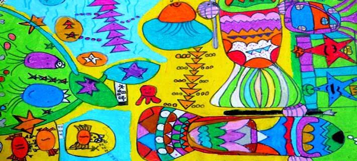 儿童创意画——《海底城市》孙梦洁女9岁 江阴市英桥国际学校 王萍老师辅导