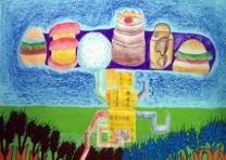 儿童科幻画——《彩色多味的粮食》 吕娜 女 11岁 银南地区 导师:李雪