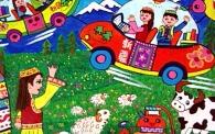儿童科幻画——《草原上的新交通》 尚思琪 11岁 博尔塔拉蒙古自治州 导师:张伟