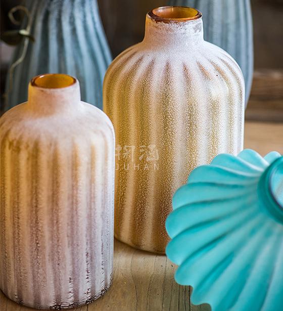 【掬涵】榴萼磨砂艺术玻璃瓶 花瓶花器 装饰器皿工艺摆件美式复