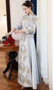 復古風淑女氣質優雅蕾絲花朵波浪修身旗袍連衣裙