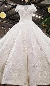 2018春夏新款韓版包肩 顯瘦長拖尾婚紗