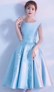 2018新款韓版時尚顯瘦甜美年會宴會中長款晚禮服