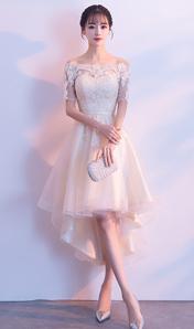 2018新款蕾絲一字肩晚禮服前短后長宴會顯瘦小禮服 伴娘禮服