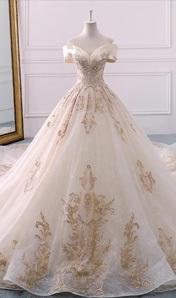 2018新款香檳色一字肩顯瘦歐美宮廷奢華婚紗