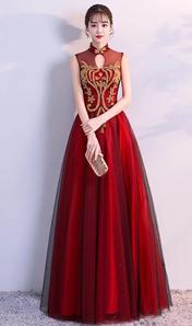 2018新款宴會高貴優雅顯瘦主持人魚尾紅色結婚禮服