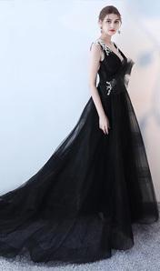 2018新款黑色長款拖尾V領修身顯瘦宴會生日主持人晚禮服