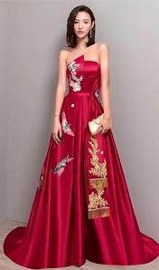 2018夏季紅色中國風晚禮服抹胸宴會修身禮服長款回門服