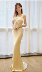2018新款抹胸魚尾公主夢幻簡約一字肩小拖尾禮服