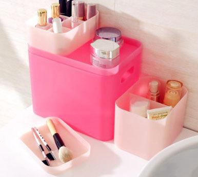 桌面饰品杂物储物盒可叠加六格小号