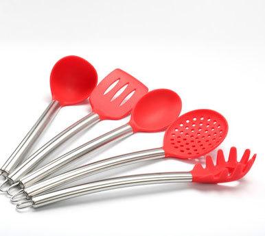 锈钢柄硅胶厨具烹饪10件套汤勺