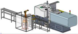 注塑机边辅助加工机械线
