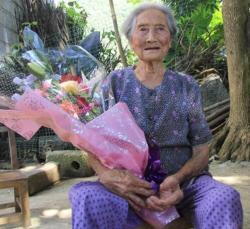 上林白圩镇赵坐村老寿星覃树春110岁