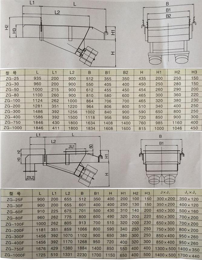 电机式振动给料机安装尺寸