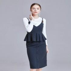 时尚裙摆条纹套装裙