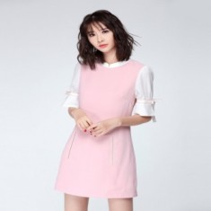 【限时购】甜美清新撞色直筒连衣裙
