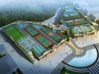 郫县职业学校体育场和食堂全景