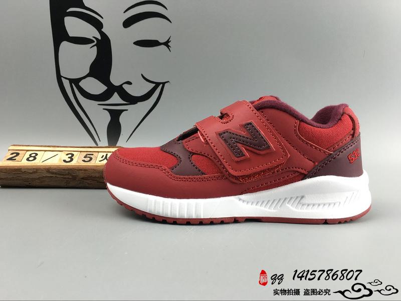 New Balance 530 猪八革运动复古童鞋 红黑 28-35
