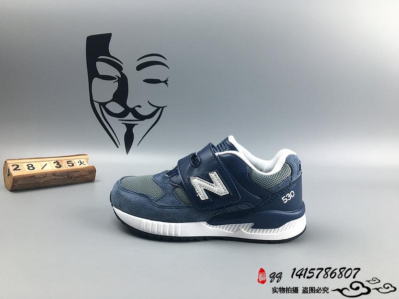 New Balance 530 猪八革运动复古童鞋 蓝灰 28-35