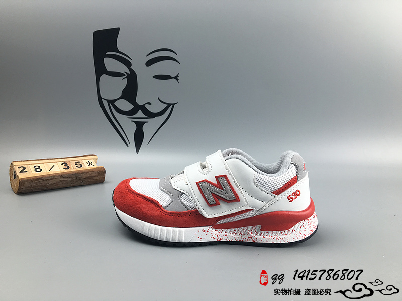 New Balance 530 猪八革运动复古童鞋 白红 28-35