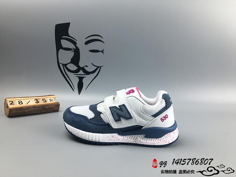 New Balance 530 猪八革运动复古童鞋 白深蓝 28-35