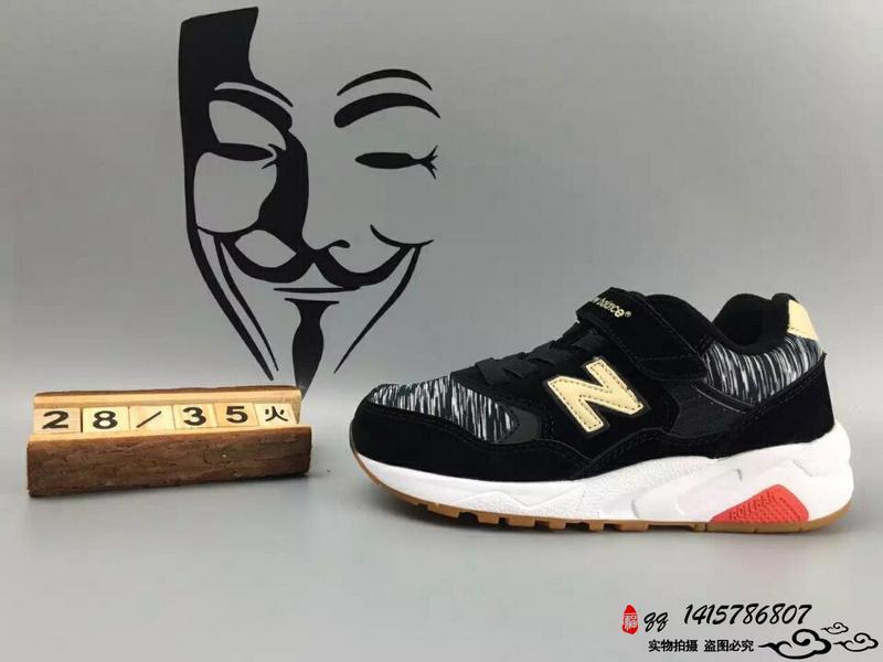 New Balance 580 猪八革魔术贴运动复古童鞋 黑条纹 28-35