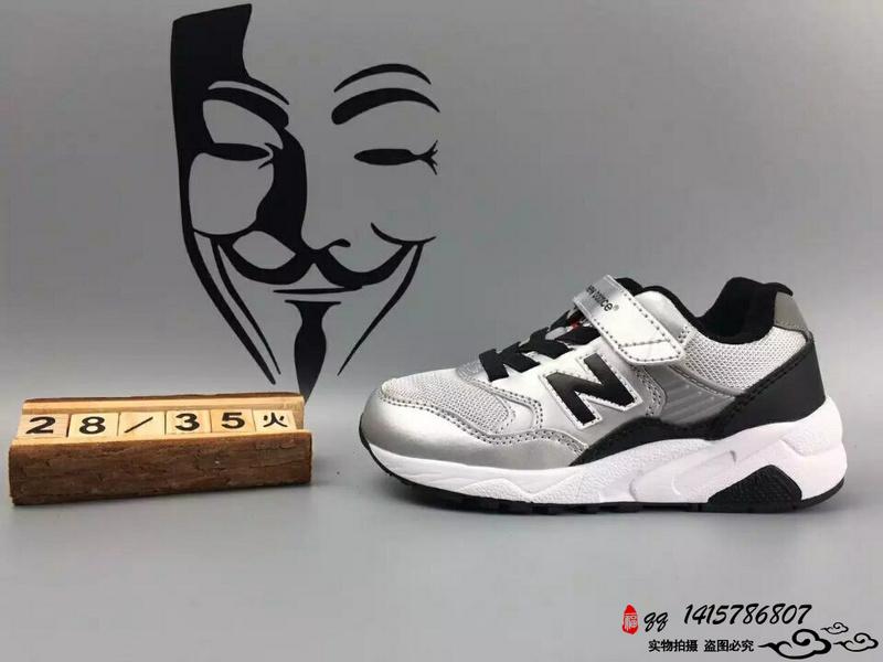 New Balance 580 猪八革魔术贴运动复古童鞋 土豪银 28-35