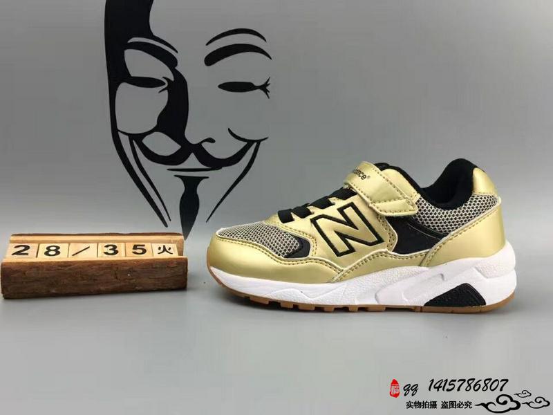 New Balance 580 猪八革魔术贴运动复古童鞋 土豪金 28-35