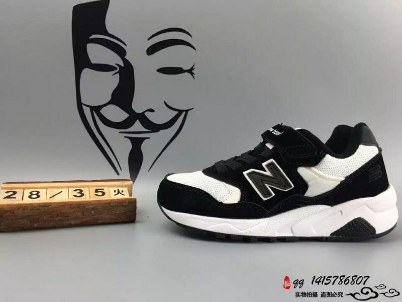 New Balance 580 猪八革魔术贴运动复古童鞋 黑白  28-35