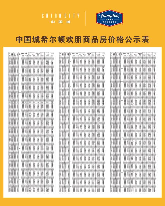 海口中国城希尔顿商品房价格公示表