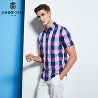 约翰普森短袖衬衫格纹色织系列