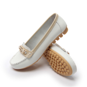 真皮豆豆鞋 女平底白色护士鞋 浅口妈妈鞋