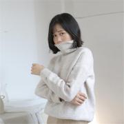 冬新款宽松套头毛衣 高领保暖打底外穿素色