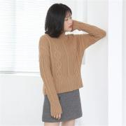 高腰麻花长袖打底外穿羊毛针织衫套头 冬保
