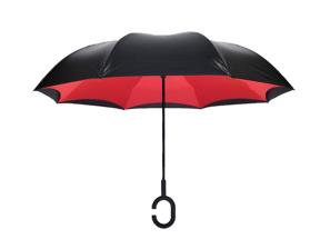【雨伞厂家】订做车载免持式反向伞C型手柄