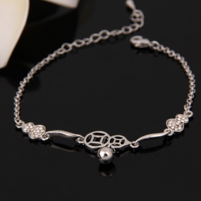 B2095   Cat Paw Print Rose Bracelet Pink Crystal Paw Chain Bracelet