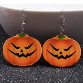 E026 Silver Plated Cute Halloween Orange Pumpkin Drop Earrings Emoji Smiling Face Charm Dangle Earri