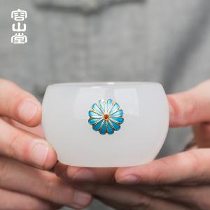 容山堂景泰蓝玉瓷茶杯白玉大号喝茶杯仆人杯