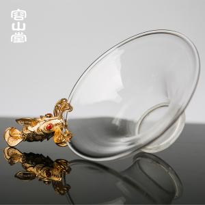 容山堂茗宏 纯铜镀金玻璃茶漏 沏茶过滤器