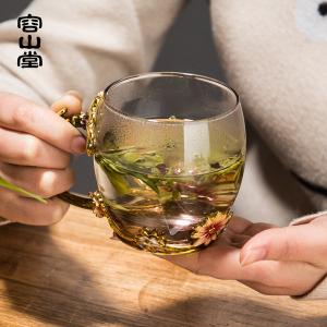 容山堂曼久 搪瓷彩玻璃茶杯 耐热喝茶杯主