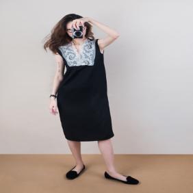 Ms MIN 立体蕾丝领羊毛连衣裙