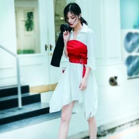 2018夏季新款女装连衣裙收腰修身腰封c