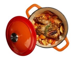 斯罗尼 SIRONI 品厨系列圆形橘黄色铸铁锅20CM