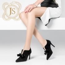 新款春黑色羊反绒皮深V口细跟高跟鞋性感及踝靴女春秋
