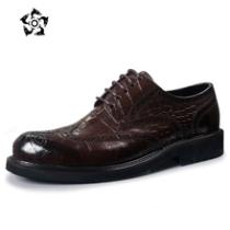 鳄鱼皮纹男鞋真皮商务休闲鞋正装皮鞋布洛克雕花鞋圆头大码春季