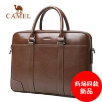 Camel骆驼男包男士手提包商务休闲牛皮单肩斜挎男公文包