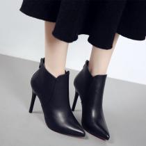 尖头超高跟鞋冬季性感细跟短靴女鞋简约加绒