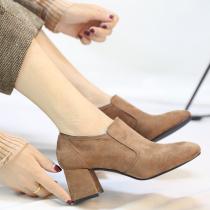 韩版简约方头靴子女秋款2017新款百搭绒面短筒及踝靴