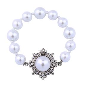 B2087  Forever Elegance Adjustable Infinity White Pearl Bracelet for Mom Wife Grandma Wedding Annive